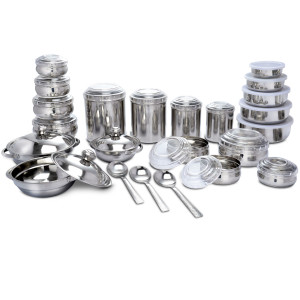43 Pcs Stainless Steel Storage & Serving Set online in Pakistan