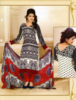 Aone Black & White Lawn Shirt with Red Bottom & Dupatta 607