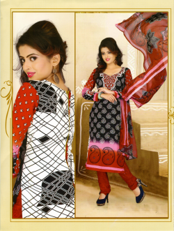 Aone Maroon & White Lawn Shirt with Maroon Bottom & Dupatta 611