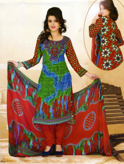 Aone Red & Blue Lawn Shirt with Red Bottom & Dupatta 612