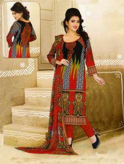 Aone Red & Brown Lawn Shirt with Red Bottom & Dupatta 606
