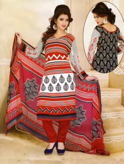Aone Red & White Lawn Shirt with Red Bottom & Dupatta 601