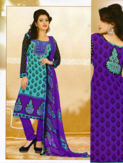 Aone Turquoise & Purple Lawn Shirt with Purple Bottom & Dupatta 608