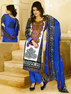 Aone White & Blue Printed Lawn Shirt with Blue Bottom & Dupatta 605