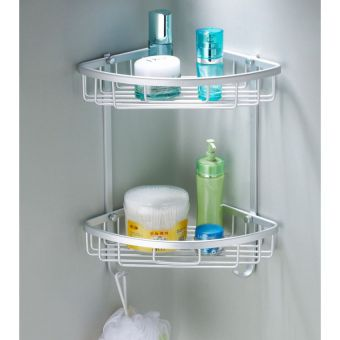 Double Power High Quality 2 Layers Bathroom Corner Wall Shelf In Pakistan