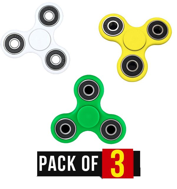 Pack of 3 - Fidget Spinner Stress Reducer Toy - Three Sided